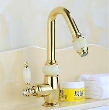 Buy Euro Gold plating Pull Basin Sink Faucet Luxury Pull Bathroom Basin Faucet Brass Jade Vanity Sink Mixer water Tap for $86.25 in AliExpress store