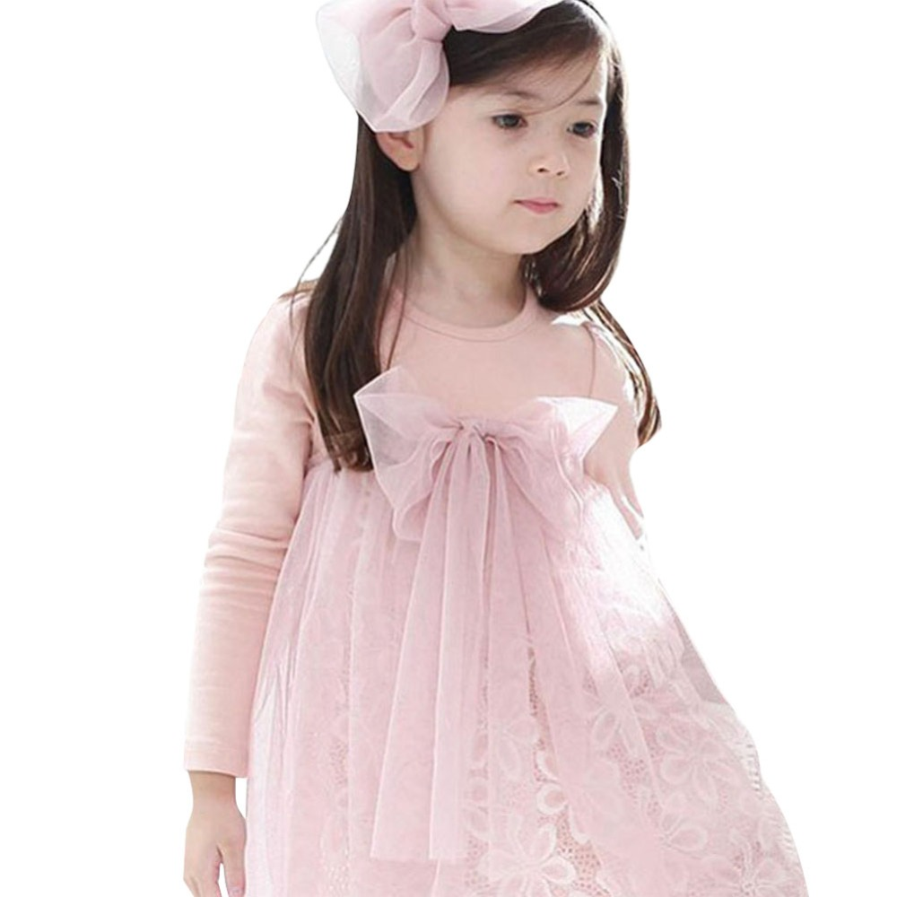 Kids Girls Bow-knot Long Sleeves Tulle Skirt  One Piece Tutu Skirts ball gown 1-7 years XL150  Free&amp;Drop  Shipping<br><br>Aliexpress