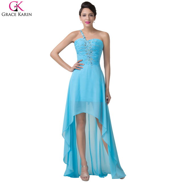 Высокая низкая вечерние платья 2016 грейс карин узелок одно плечо синий короткие ...