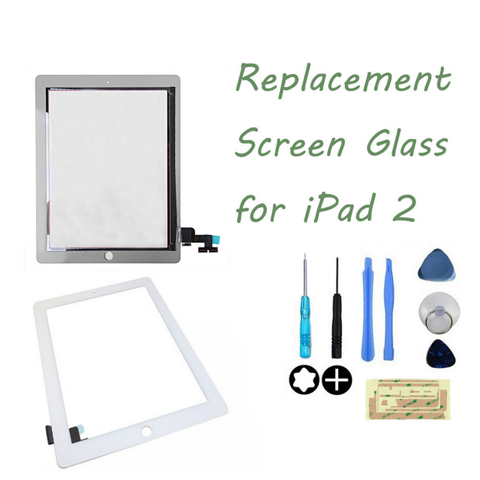 White Touch Screen Digitizer for Ipad 2 +3M Adhesive Tape Sticker +8 pcs tools with free track number(China (Mainland))
