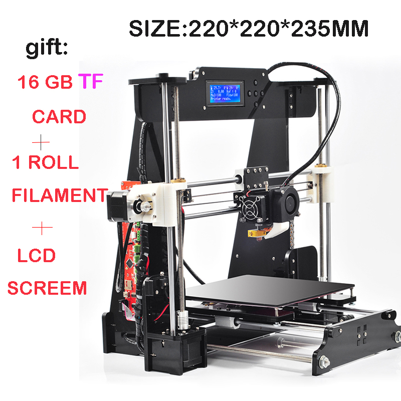 Upgraded Quality High Precision Reprap Prusa i3 DIY 3d Printer kit with 16GB TF card+2 Rolls Filament+ LCD +DHL Shipning<br><br>Aliexpress