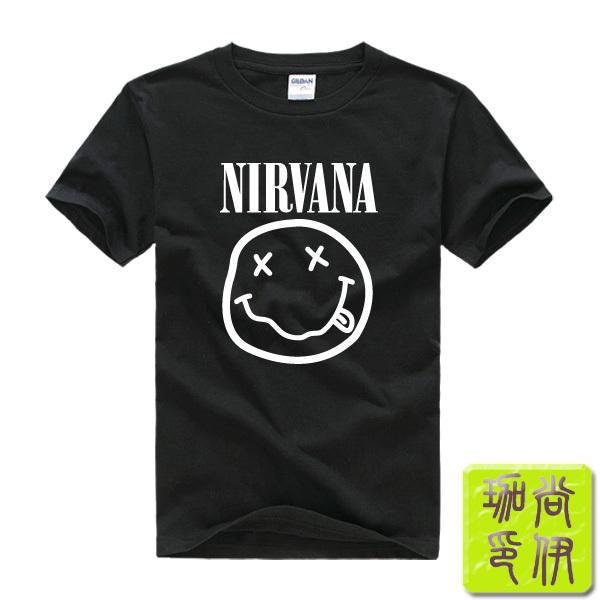 NIRVANA Smiley Face KURT COBAIN Happy Nevermind Grunge rock Printed Mens Men T Shirt Tshirt 2015 New Short Sleeve T-shirt Tee(China (Mainland))