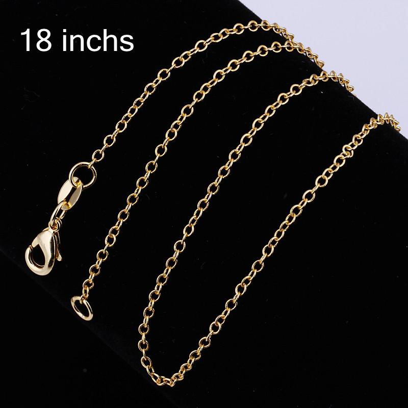 New Fashion Unisex Jewelry 2MM 18inches 18K Gold Plated Long Chain Necklace for Men/Women Copper Gold Chains Necklaces Wholesale(China (Mainland))