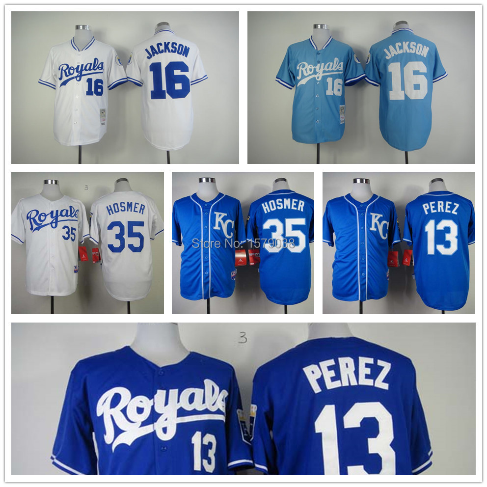 New Kansas City Royals Jersey authentic #16 Bo Jackson Jersey baseball #13 Mike Aviles #35 Eric Hosmer jersey top quality(China (Mainland))