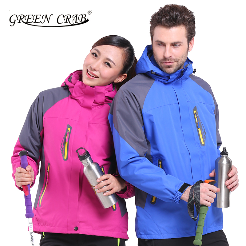 GREEN CRAB winter Men & Women 3in1 Double Layer windproof warm Jacket Climbing hiking outdoor ski waterproof breathable jacket(China (Mainland))