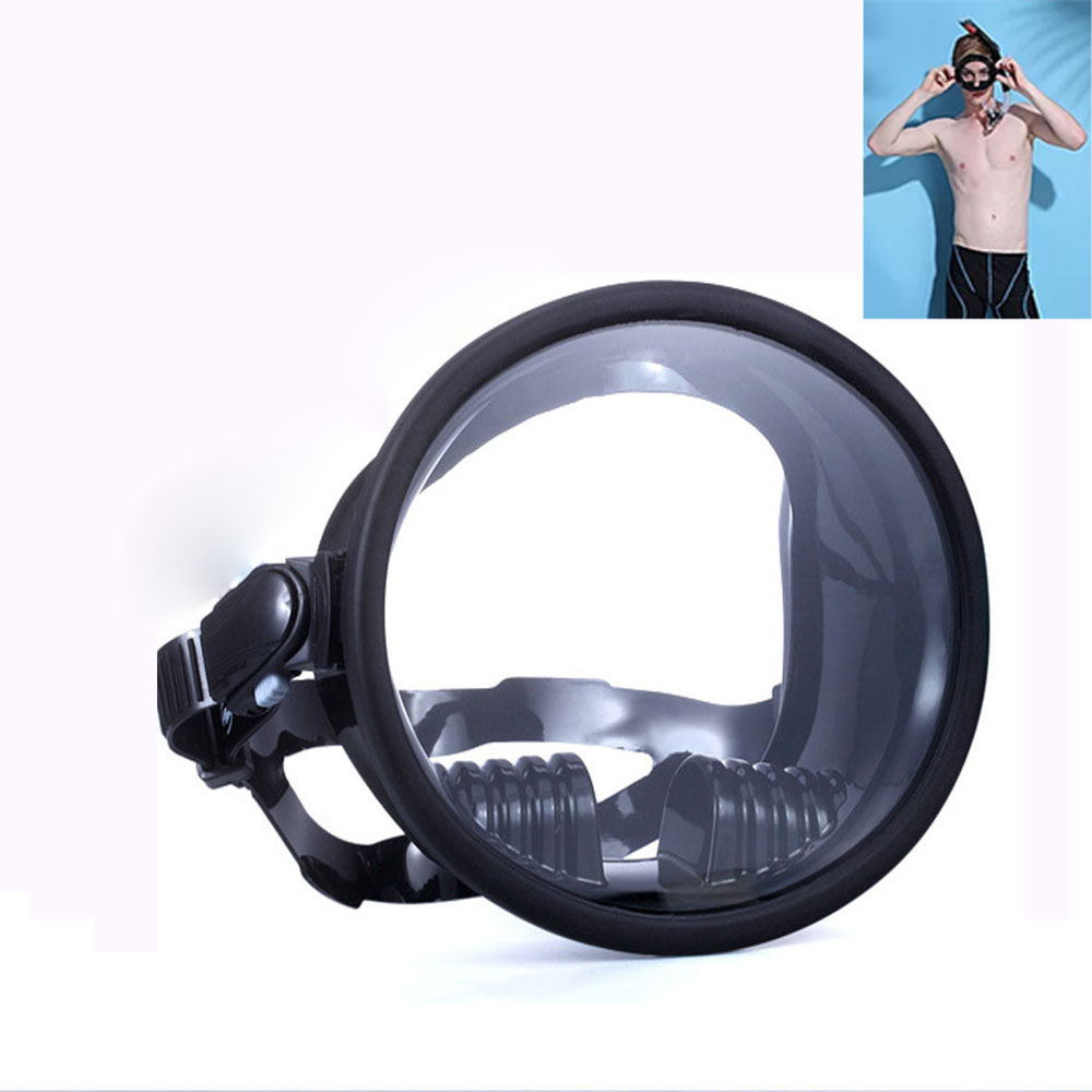 Snorkeling anti-fog goggles glass panoramic view mirror underwater silicone snorkel mask ski swimming surfing diving goggles(China (Mainland))