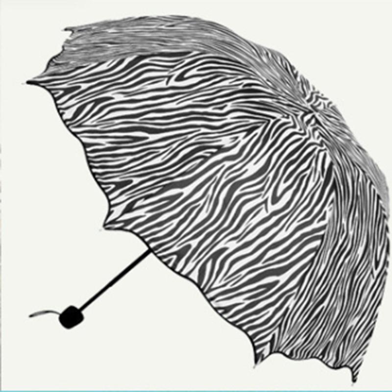 Hot Sales 2016 Zebra Print Folding Ruffle Umbrella Apollo Wave Structurein Princess Umbrella Rain Or Shine(China (Mainland))