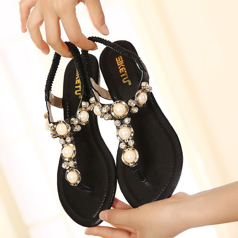 2016 Shoes woman gladiator sandals women sandal summer shoes open toe flip flops women sandals rhinestone Pearl wedges plus size