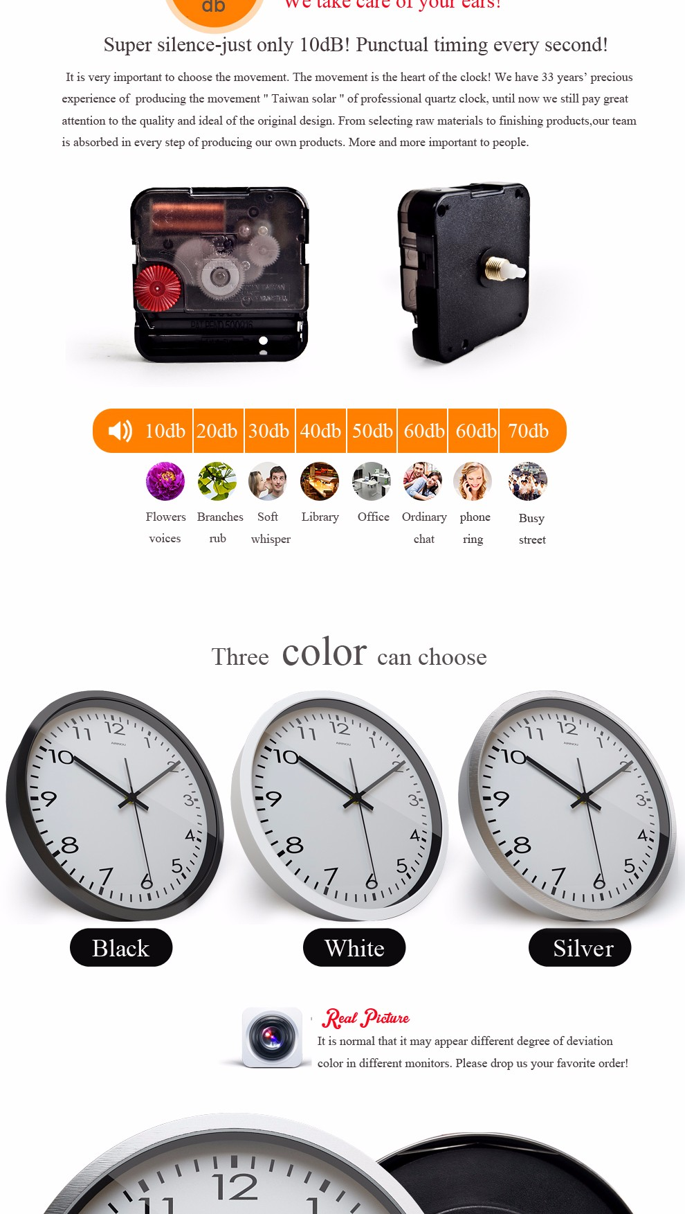 Airinou Corridor, living white simple modern office wall clock , High transparent glass silent movement clock