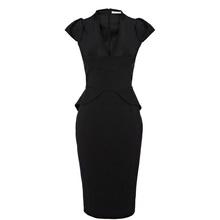 2016 New Hot Sale Victoria Beckham Dress is Design Slim Dress Sexy Black Dress(China (Mainland))