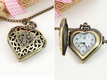 Vintage Woman girl Bronze Hollow out Love heart-shaped style Necklace watches(China (Mainland))