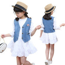 Buy Casual Girls Denim Vest Dress 2 Piece Clothing Set Fashion Children Dress Waistcoat Girls Princess Spring Autumn Clothes for $16.44 in AliExpress store