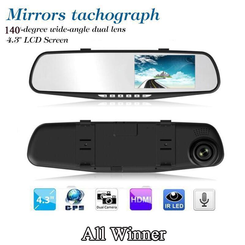 "4.3"" Full HD Car DVR Night Vision LCD All Winner Rearview Mirror Dash Cam Camera Video Recorder Video Recorder 140 degree(China (Mainland))"