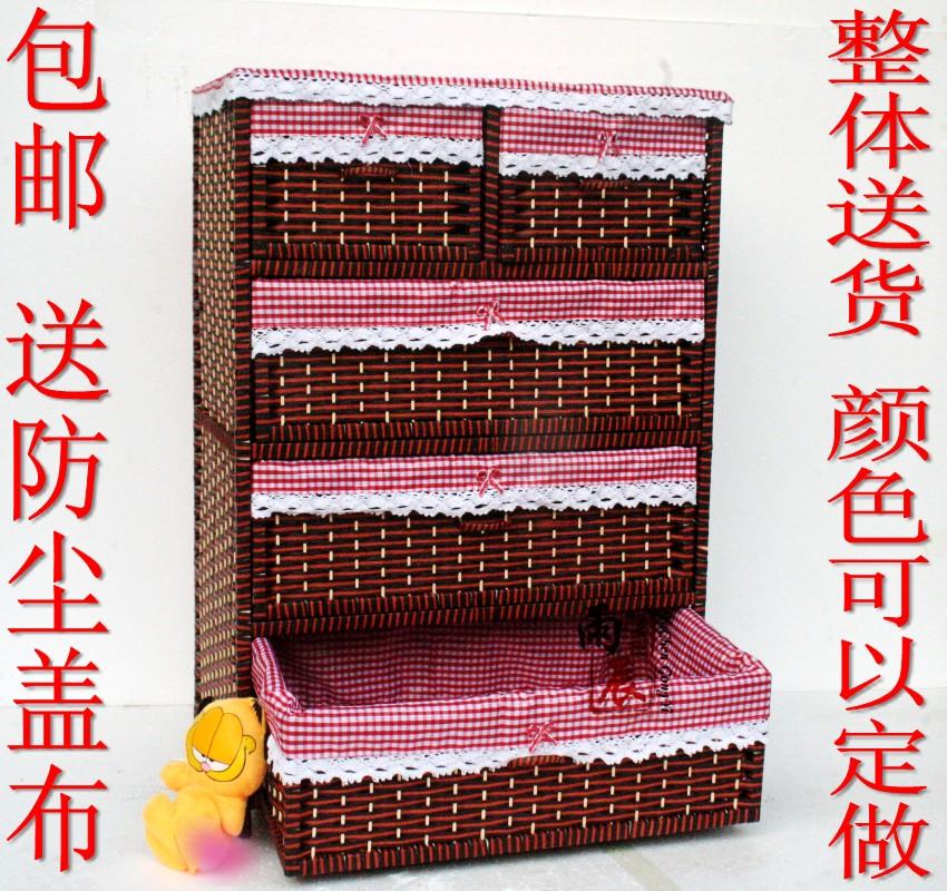 Bedside cabinet straw braid rattan wardrobe rustic child wardrobe storage cabinet five drawer cabinet(China (Mainland))