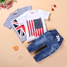 Baby Boy Clothing Sets 2 T-Shirt and Jeans 3 Pcs Fashion Summer Boys Suits for Summer National Flag Charater T-shirt *
