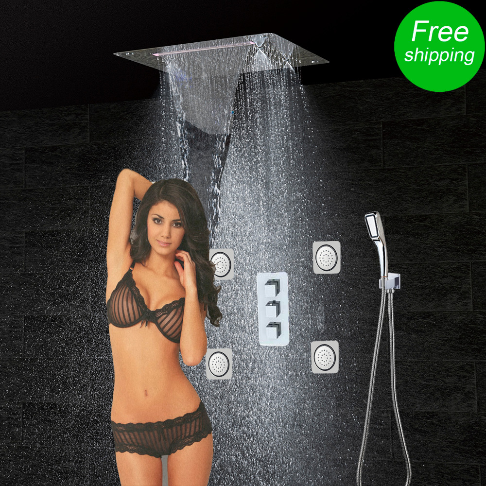 Bathroom Shower Set Accessories Faucet Panel Tap Thermostatic Mixer LED Ceiling Head Rain Waterfall mist CF5326 - Relextime Showers Store store