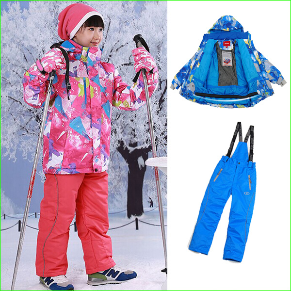 Фотография KS01S winter Children Ski Suit Set children Winter Sports suits waterproof kids jacket +pants