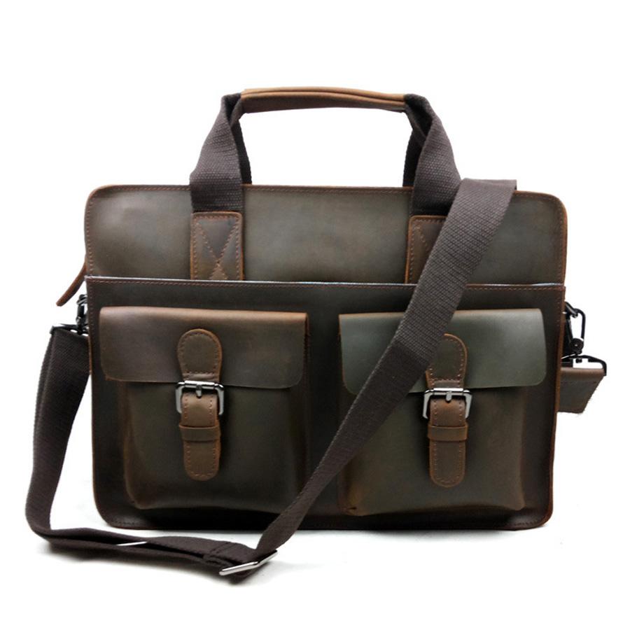 new 100% Genuine Cow Leather Men bags men Briefcase Laptop Bag men Messenger Handbag Shoulder leather laptop tote travel bags