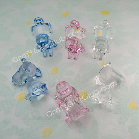 30 Mix Blue Pink Clear Transparent Cute Dog Baby Shower Acrylic Bead Christening Favor Party Decoration 20mm x 39mm x 25mm(China (Mainland))