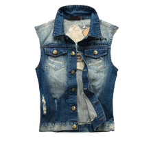 Vest Sleeveless Jacket Waistcoat Men's Retro Cow Denim Washed