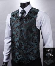 VE11 Green Black Paisley Top Design Wedding Men 100%Silk Waistcoat Vest Pocket Square Cufflinks Cravat Set for Suit Tuxedo(China (Mainland))