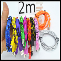 2014 New 1pcs Braided noodle Micro USB Cable 2M 6ft Sync Nylon Woven V8 Charger cable for Samsung Galaxy S3 S4 i9500#mr008