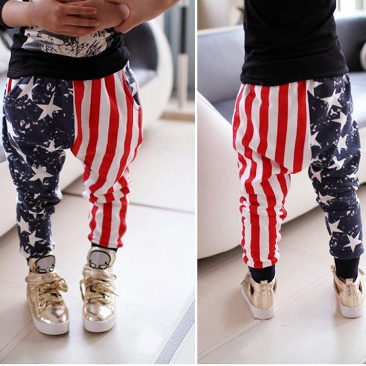 Boys pants Girl pants Design five star and stripe kids printing clothing children trousers casual sports Harem Pants calca HP012(China (Mainland))