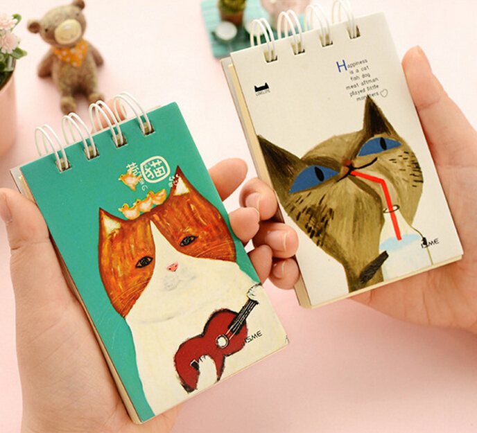 Cute Miss Cat Hard Cover Coil Book Portable Pocket Notebook Diary Notepad Escolar Papelaria(China (Mainland))