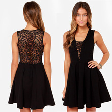 Charming and elegant lace perspective back deep V lace stitching slim sleeveless dress haoduoyi