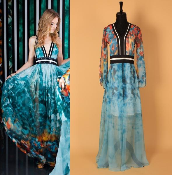 2015 Early Spring Summer New Fashion Runway Brand Women's Sexy V-neck Long Sleeve Printed Bohemian Split Chiffon Holiday Dress(China (Mainland))