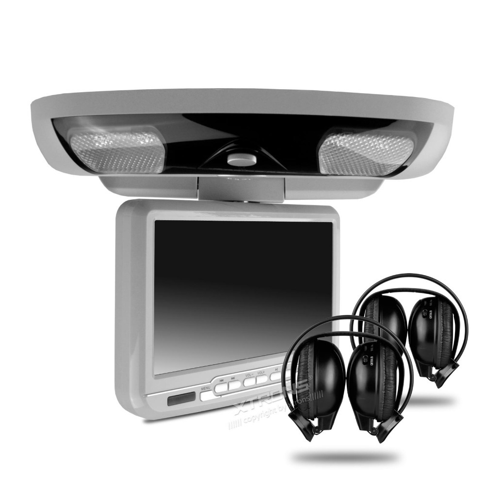 "XTRONS Grey 9""Digital Screen Flip down Car Roof DVD Player Overhead USB FM Game Headset(China (Mainland))"