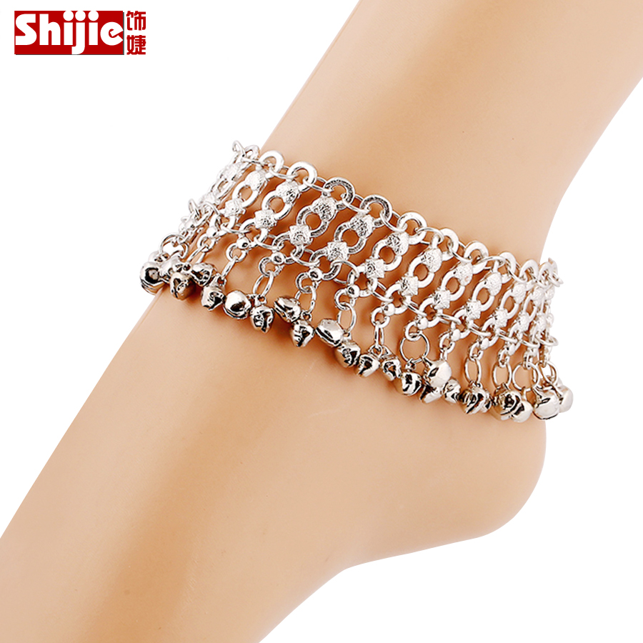 Vintage Silver Anklets For Women Bell Bohemian Ankle Bracelet Cheville Barefoot Sandals Pulseras Tobilleras Mujer Foot Jewelry(China (Mainland))