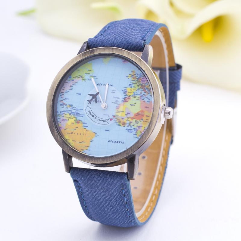2015 Denim Fabric Men Watches Women Quartz Watch World Map Shows Unisex Wrist