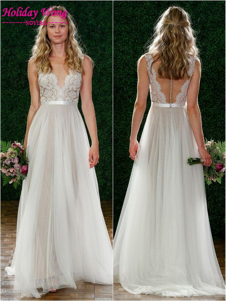 2015 sexy deep v neck beach wedding dresses backless for Backless beach wedding dresses