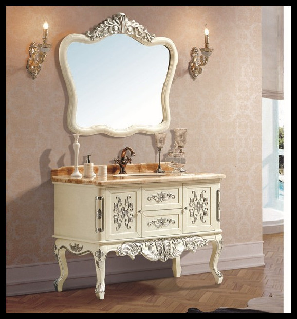 european style high quality wooden bathroom furniture wood bathroom