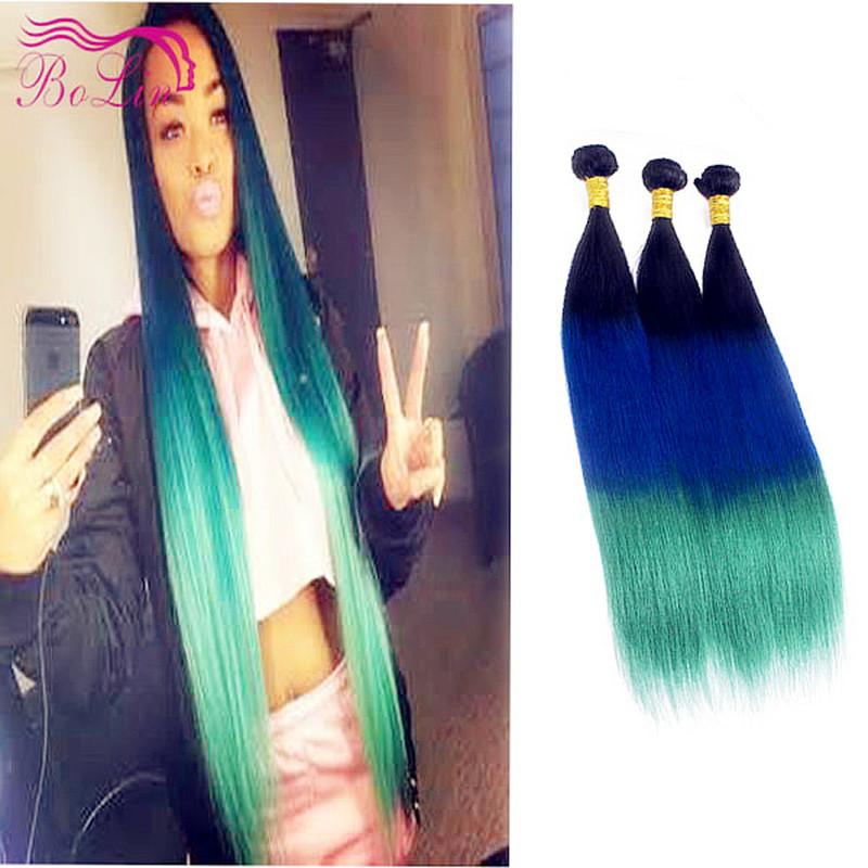 Buy 7a 3 Tone Hair Extension Blue Ombre Weave 1b Green Brazilian