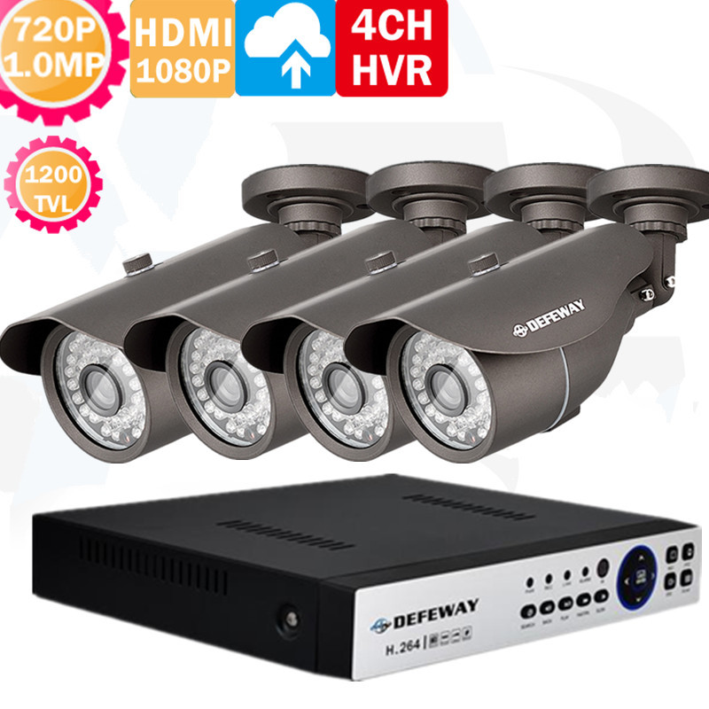 HD 4ch CCTV system 1.0MP video surveillance FULL 720P AHD CCTV DVR 1080P NVR kit 4*720p 1200TVL Outdoor security camera system(China (Mainland))
