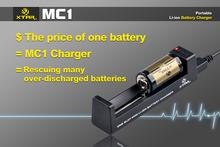 XTAR MC1 Universal Battery Charger for AA AAA 10440 14500 16340 18650 26650 3.6/3.7V Lithium Li-ion USB all in one LD491