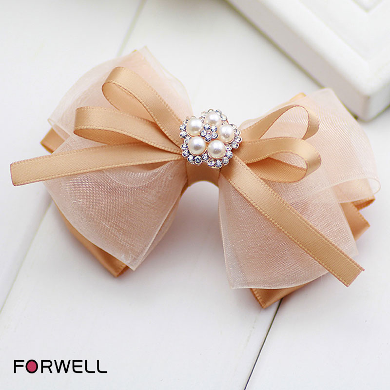2016 retro style hairpins for women champagne multilayer silk yarn bow hair clip sweet headwear barrettes hair accessories(China (Mainland))