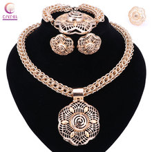 Buy Hot Sale dubai gold color jewelry sets women wedding fashion jewery sets women necklace jewelry sets for $11.00 in AliExpress store