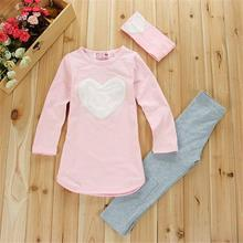 3pcs 1pc Hair Band+1pc Shirts+1pc Pants Children's Clothing Set Girls Clothes Suits Pink Red Heart