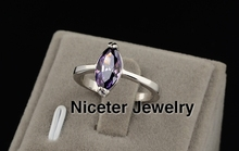 NICETER White Gold Rings Marquise cut Swiss Cubic Zircon Diamond Rings For Women Wedding Rings Anniversary