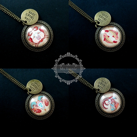 35mm Aries,Cancer,Pisces,Capricorn horoscopes cabochon antiqued bronze live laugh love pendant charm long necklace 6350385(China (Mainland))