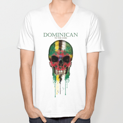 Dominica Skull flag New Fashion trend Men's T-shirts Short Sleeve summer V-neck T shirt(China (Mainland))