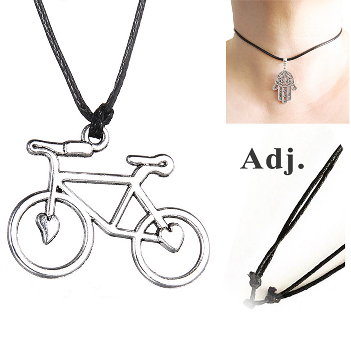 2015 Vintage Charms Choker Necklace Silver bike Pendant with Black Leather Cord Chain Adjustable Size(China (Mainland))