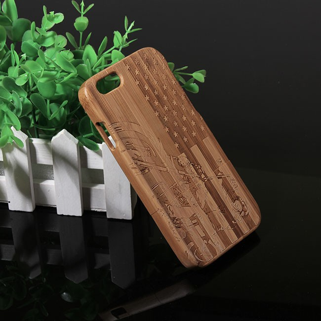 """Natural Genuine Bamboo Carving Design Case Cover for Apple iPhone 6 Wood protective phone bag 4.7"""" Cases+Protector Film Gifts(China (Mainland))"""