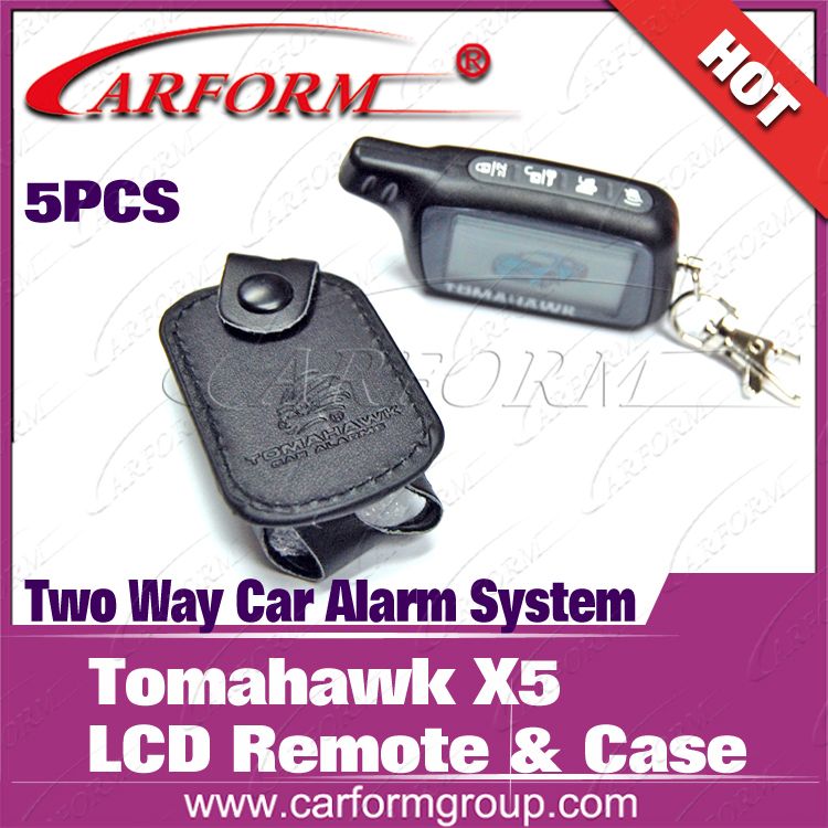 CE passed good quality LCD pager and with free pu leather Casefor Tomahawk X5 Two way car alarm system used(China (Mainland))