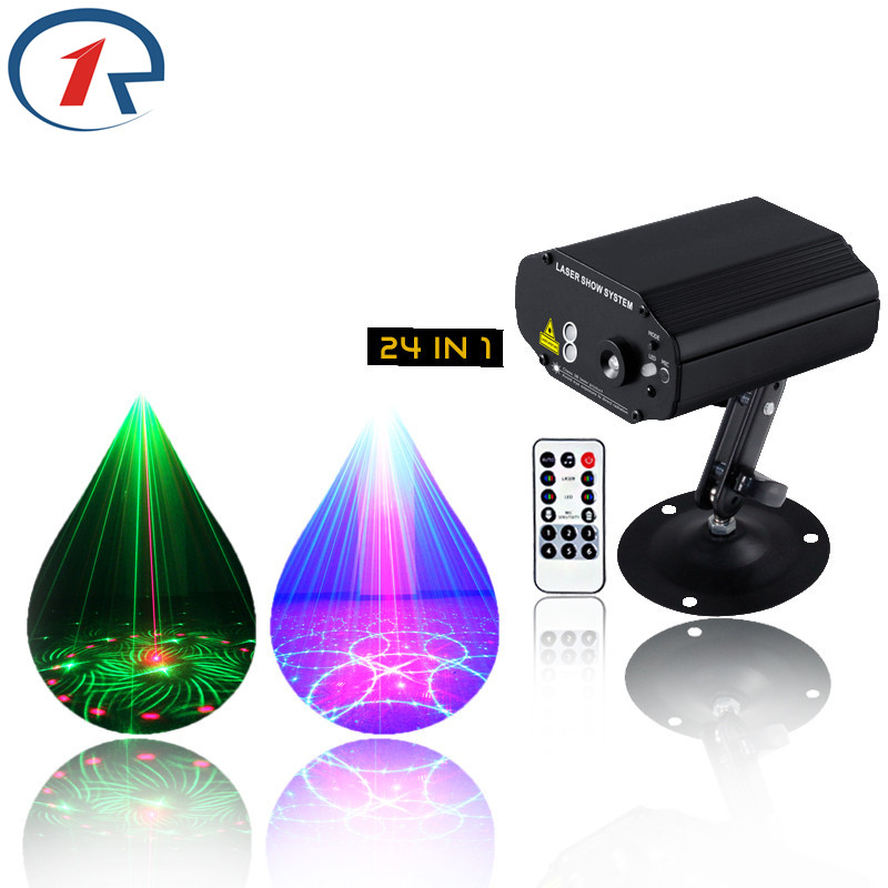 R-S-24 IR Remote Red Green Laser Light Blue LED Stage Light 24 Patterns Laser projection map disco light bar ktv dj lights(China (Mainland))