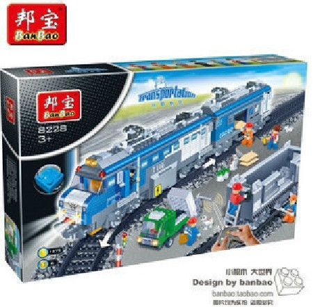 Building Block Sets Compatible With Lego Freight Train RC Transport 8228  Construction Brick Educational Hobbies Toys for Kids