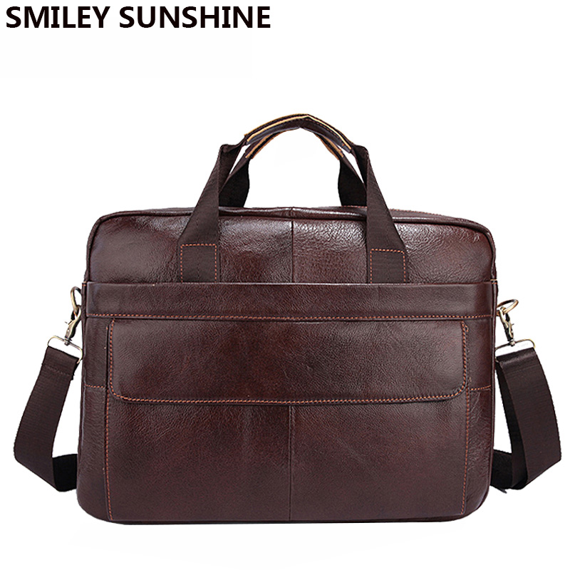 Genuine Leather Men Briefcases Handbag Document Brown Business Office Laptop Bag Leather Brief Cases Male Work Bag Attache Case(China (Mainland))